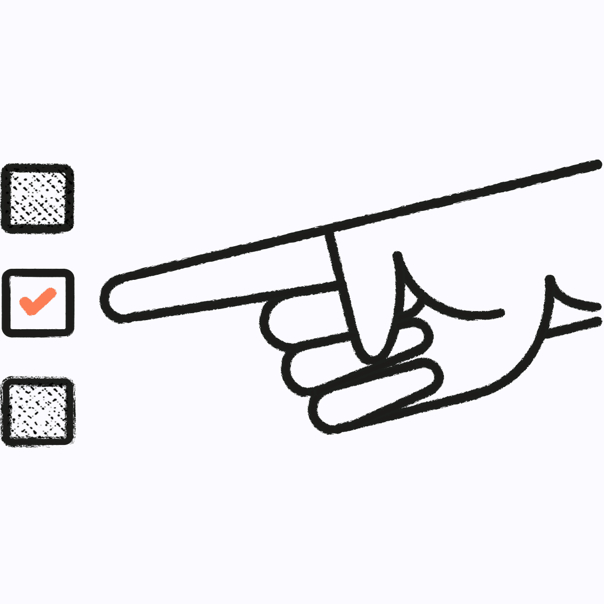 Illustration of finger pointing at tick boxes